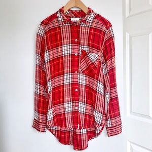 American Eagle Red Flannel Shirt Button Down Top